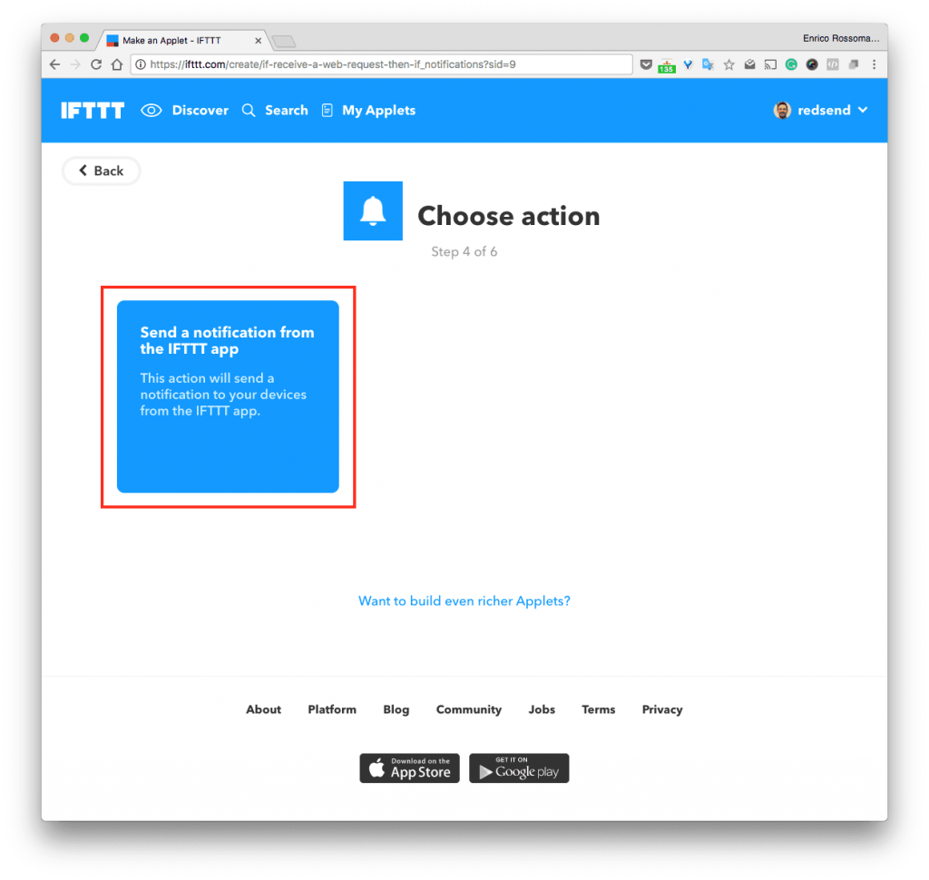 "Premiamo sul box celeste ""Send a notification from the IFTTT app"""